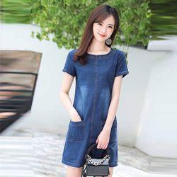 Đầm Jean Cổ Tròn Hai Túi Trước Form Chữ A Basic giá sỉ