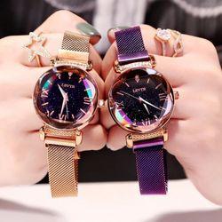 Đồng hồ nữ LSVTR dây nam châm mặt vát 3d sành điệu giá sỉ