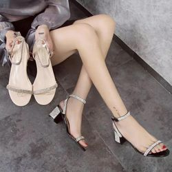 Giày gót vuông 5cm phối đá kim sa