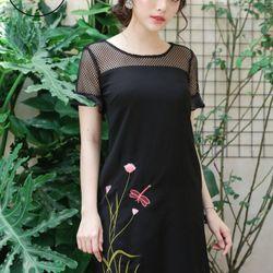 Đầm suông thêu tay loe MS312 Có 3 màu giá sỉ