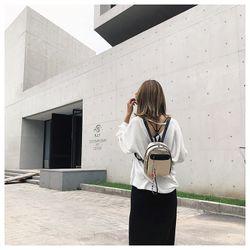 Balo Nữ Ánh Kim Thời Trang Hàn Quốc Kèm Móc Khóa Chữ Siêu Cá Tính D8065