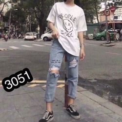 Quần Baggy Jeans Nữ In giá sỉ