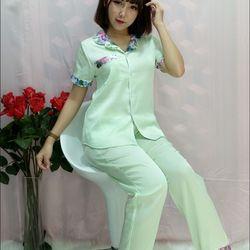 Bộ pijama lụa satin phối Tay ngắn Quần dài giá sỉ