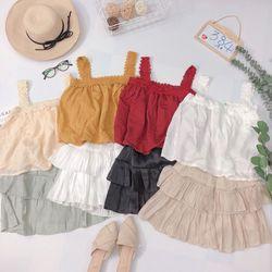 Set bộ áo 2d viền ren chân váy tầng giá sỉ
