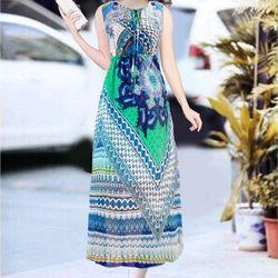 Đầm maxi màu xanh siêu xinh giá sỉ