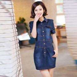 Đầm Jean Body Cổ Sơ Mi Viền Eo Phối Túi Cá Tính giá sỉ, giá bán buôn