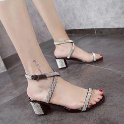 Giày gót vuông 5cm phối đá kim sa- CG231 giá sỉ