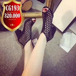 Giày cao gót hở mũi gót vuông có lỗ hình lục giác- CG193 giá sỉ