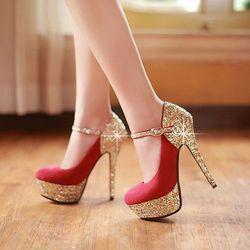 Giày cao gót bít mũi quai kim tuyến- CG901 giá sỉ