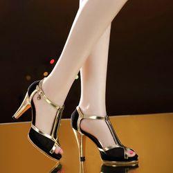 Giày cao gót lưới phối viền da - CG544 giá sỉ