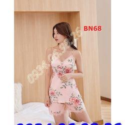 Bộ ngủ nữ quần đùi 2 dây chất lụa họa tiết hoa BN68 hồng da