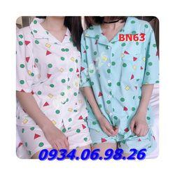 Bộ ngủ nữ pijama chất cotton thoáng mát thấm hút mồ hôi BN63