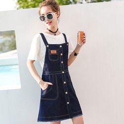 Đầm Jean Yếm Phối Nhiều Nút Kèm Túi Mini Xì Teen giá sỉ