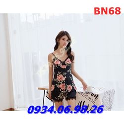 Bộ ngủ nữ quần đùi 2 dây chất lụa họa tiết hoa BN68 đen