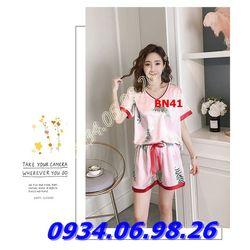Bộ đồ ngủ nữ chất phi lụa mịn mát quần đùi BN41 đỏ giá sỉ, giá bán buôn