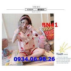 Bộ đồ ngủ nữ chất phi lụa mịn mát quần đùi BN41 trái dâu giá sỉ