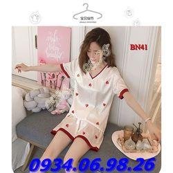 Bộ đồ ngủ nữ chất phi lụa mịn mát quần đùi BN41TR giá sỉ
