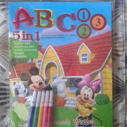 Tập tô màu 5 in 1 Học chữ học số tô màu dán hình học tiếng Anh