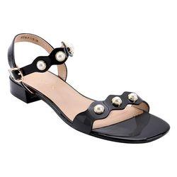 Giày sandal nữ - thiết kế quai ngang kết hạt da bóng sang trọng với các màu đỏ đen hồng giá sỉ