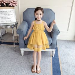 Chiếc váy điệu đà sang chảnh màu vàng nổi bật cho bé giá sỉ