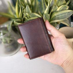 Ví mini da bò sáp dầu VM01-ví nhỏ-ví đựng thẻ - Mẫu ví nhỏ gọn có cúc bấm và khóa kéo giá sỉ