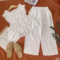 SET trắng áo nhún quần suông giá sỉ
