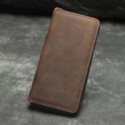 Ví dài cao cấp da bò sáp ví dài nam cầm tay mẫu có khóa kéo kim loại màu nâu VD01 giá sỉ