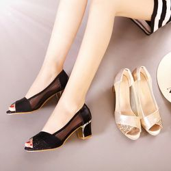 Giày hở mũi phối kim tuyến- G821