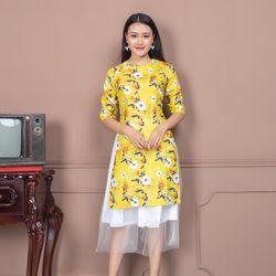 Áo dài cách tân hoa nhí màu vàng giá sỉ