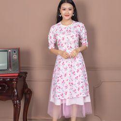 Áo dài cách tân hoa nhí màu hồng giá sỉ