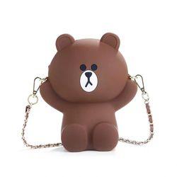 Túi đeo chéo silicon hình gấu Brown