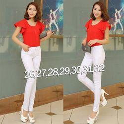 QD250 - Quần jean trắng lưng cao 1 nút đơn giản giá sỉ