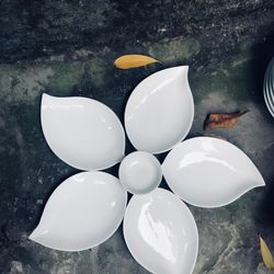 Bộ đĩa lá xoài 5 cánh gốm sứ Bát Tràng giá sỉ, giá bán buôn