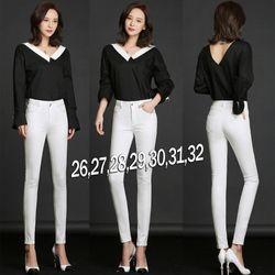 QD272 - Quần jean trắng lưng cao 1 nút đơn giản giá sỉ