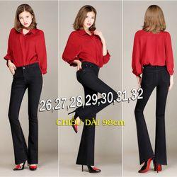 QD224 - Quần jean đen lưng cao 1 nút ống loe cực hot giá sỉ