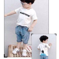 LydoBB chào mẫu bộ jean bé trai hàng có sẵn giao ngay Trọn bộ quần jean cotton wash rách áo thun cotton mềm mịn có in chữ phía trước phía sau có in hình Có 3 màu như hình đỏ trắng đen Size nhí 3-10 ri 8 Size đại 11-15 ri 5 giá sỉ