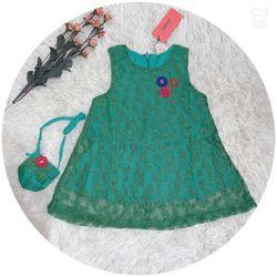 Đầm ren bé gái co giãn đính bông 7-11 giá sỉ