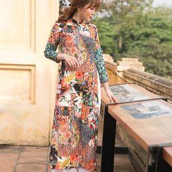 Áo dài thổ cẩm nhiều họa tiết màu sắc giá sỉ