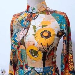 Áo dài truyền thống hoa hướng dương giá sỉ, giá bán buôn