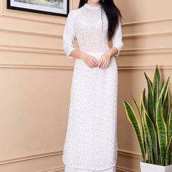 Áo dài phối tay hoa nhí màu trắng giá sỉ