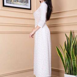 Áo dài phối tay hoa nhí màu trắng giá sỉ, giá bán buôn