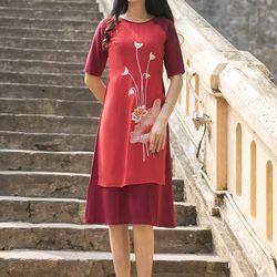 áo dài cách tân liền váy thêu sen màu đỏ giá sỉ