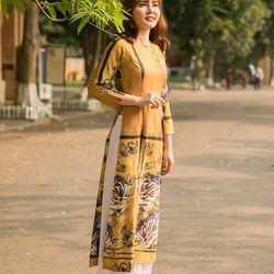 Áo dài thổ cẩm họa tiết màu vàng giá sỉ