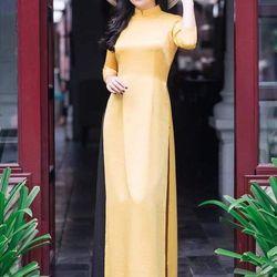 Áo dài lụa tuyết màu vàng giá sỉ