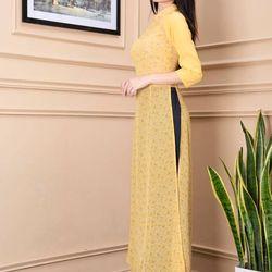 Áo dài hoa nhí phối tay màu vàng giá sỉ
