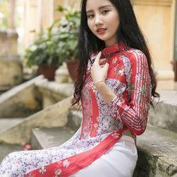 Áo dài tơ lụa cao cấp màu đỏ giá sỉ