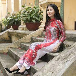 Áo dài tơ lụa cao cấp màu đỏ giá sỉ, giá bán buôn