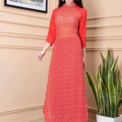 Áo dài hoa nhí phối tay màu đỏ giá sỉ, giá bán buôn