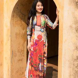 Áo dài thổ cẩm nhiều màu sắc họa tiết khác nhau giá sỉ