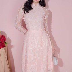 Áo dài cách tân ren màu hồng giá sỉ
